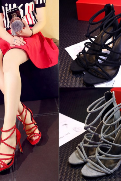 Strappy Knotted High Heel Sandals with Zipper Closure