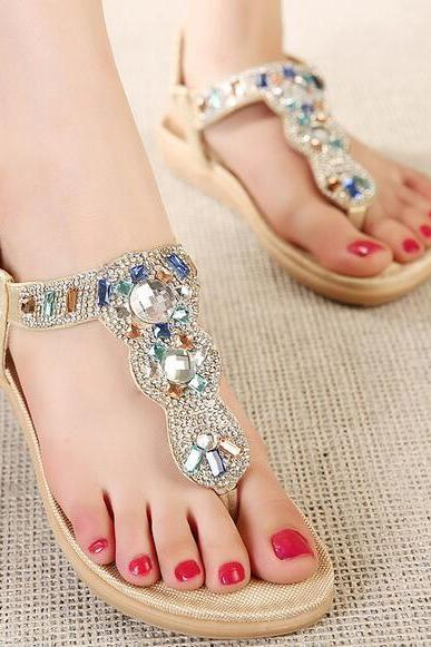 2016 new Korean version of sandals rhinestone sandals shoes sandals