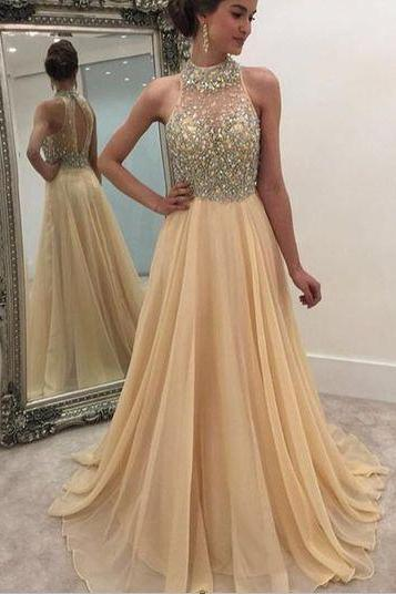 Charming Formal Women Dress,Beading Champagne Prom Dress,Long Prom Dresses,Cheap Prom Dresses,Evening Dress Prom Gowns, Chiffon Prom Dress