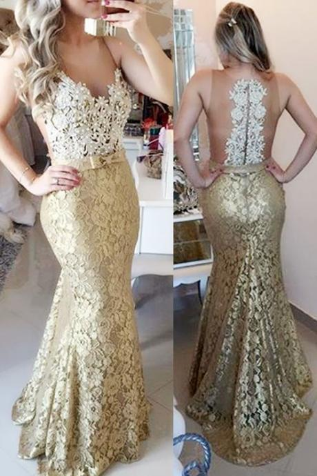 2016 Sheer Illusion Lace Mermaid Prom Dresses, Sleeveless Long Evening Gowns with Bow, Lace Prom Dresses, Gold Prom Dresses