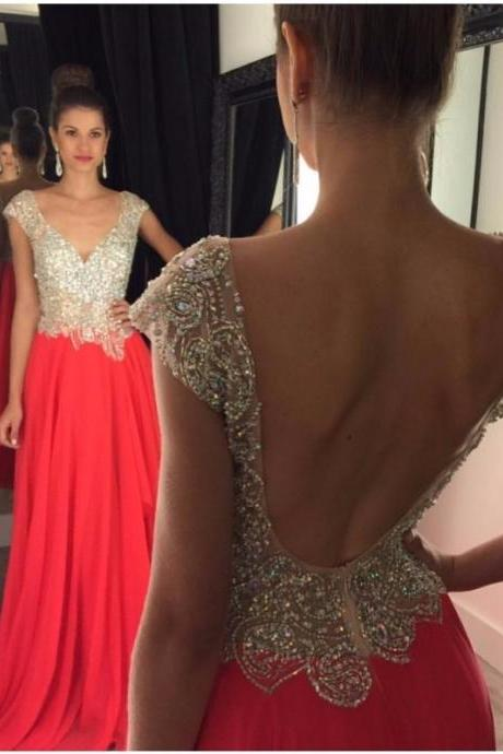 2016 Backless Long Chiffon Prom Dress With Beaded Appliques Watermelon Graduation Gowns Cheap Party Dresses