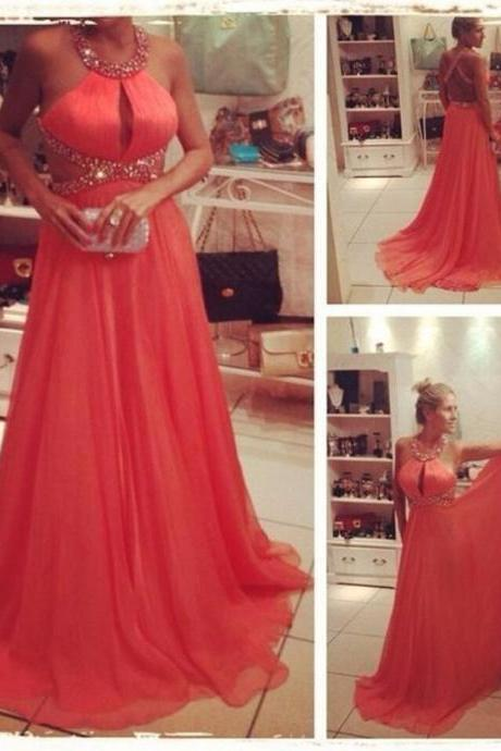 Fashionable Long Chiffon Prom Dresses Sexy Backless Beading Halter Elegant Women Party Gowns