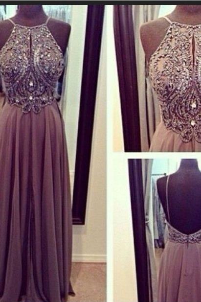 Wedding Dresses,Long Sleeves Wedding Dresses,Lace Wedding Dresses,Pretty Wedding DressesHot Sales Chiffon Spaghetti Straps Open Back Long Prom Dresses, A-line Floor-Length Halter Backless Grey Evening Dress Gown