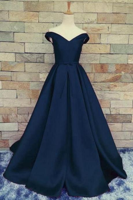 Navy Prom Dress Off the Shoulder Prom Dresses Evening Party Gown Formal Wear Party Evning Dresses